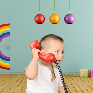 Talking toddler on the phone